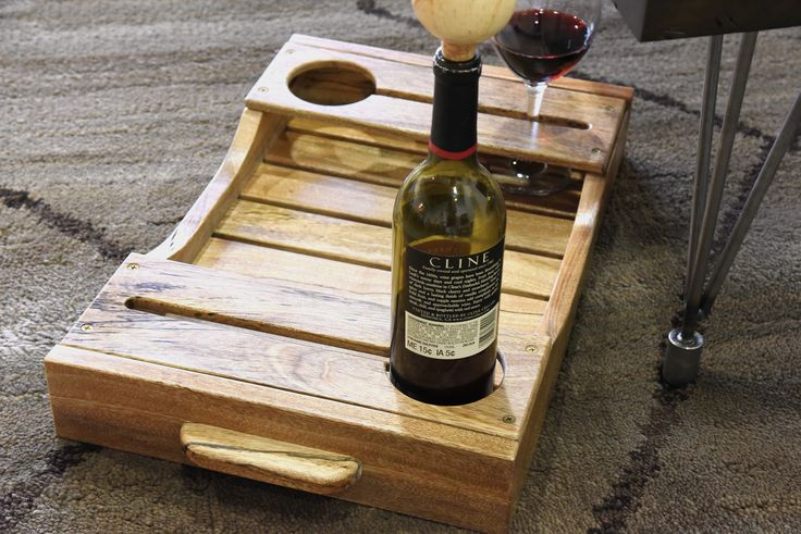 Live Edge Rustic Wood Wine Serving Tray