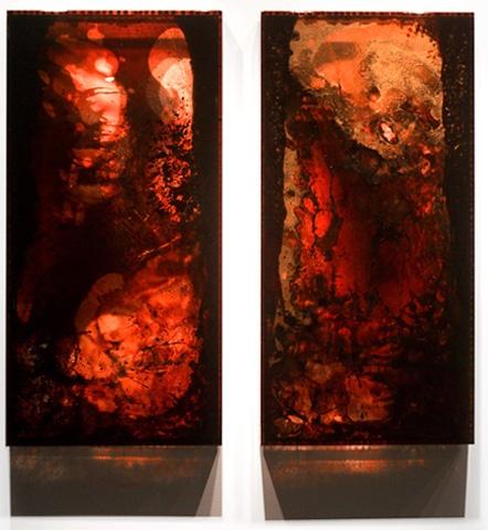 Barc 1-2 Blood, copper preserved on plexiglass, UV resin - JORDAN EAGLES