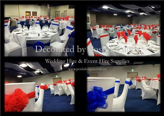 Red and blue organza sashes, white lycra chair covers, white tablecloths, all for hire. Australia wide. Visit www.poshdesigns.com.au for more photos and info, or email lisa@poshdesigns.com.au for pricing packages