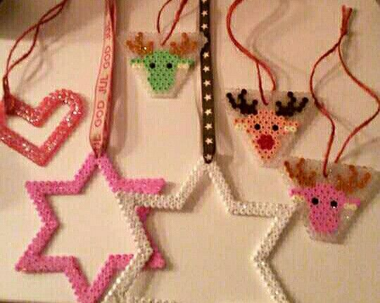 Christmas decoration - Heart, stars and raindeers  Hama beads