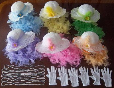 6 GIRLS TEA PARTY DRESS UP SETS HATS BOAS GLOVES PEARLS