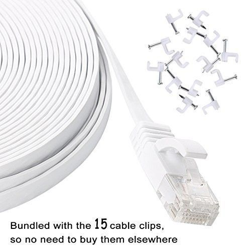 Flat Ethernet Cable 50 Ft Long Slim Fast Internet Network Patch Cord CAT6 White #NetworkingCablesAdapters