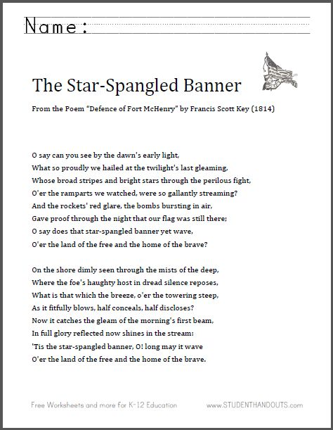"The Star-Spangled Banner - Complete Lyrics - Free to Print | 2014 is the bicentennial of this famous poem, written by Francis Scott Key as ""Defence of Fort McHenry"" in 1814."
