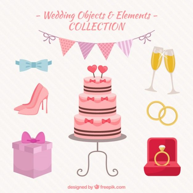 Wedding objects and elements pack Free Vector