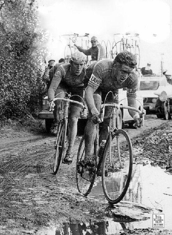 Parigi-Roubaix 1978, 16 aprile. Freddy Maertens (1952) e Roger De Vlaeminck (1947)