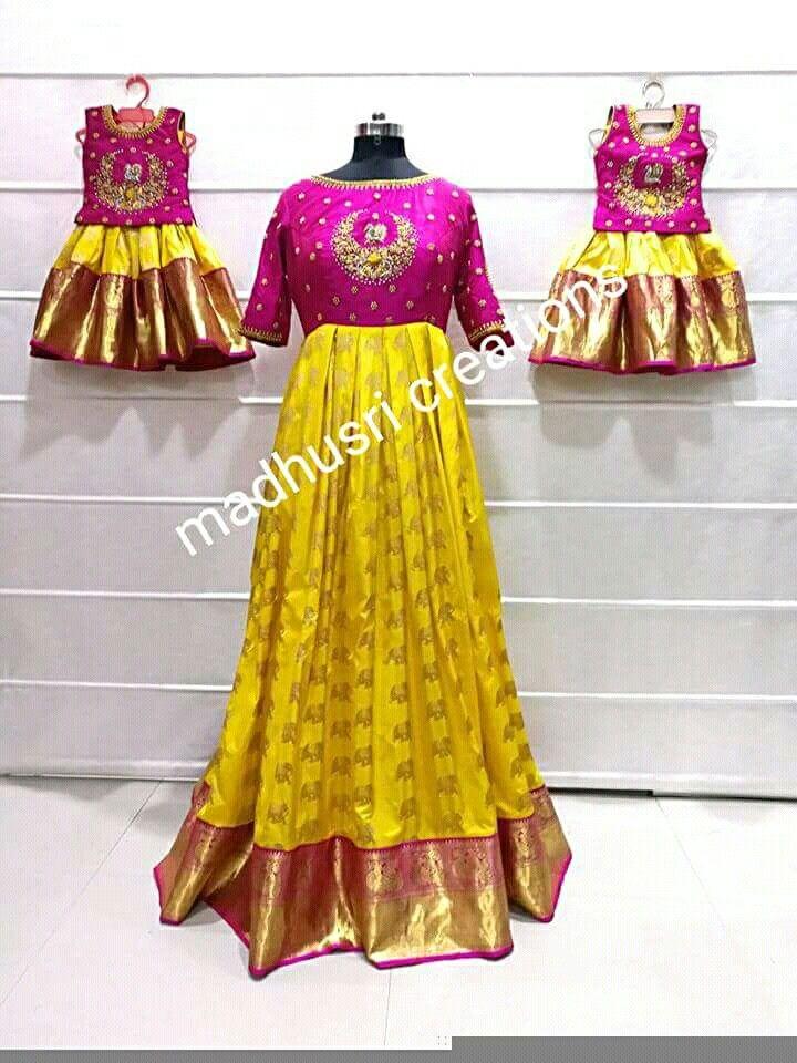 b9b0ecd1cbe Pin by jyostna on mom& | Mother daughter dresses matching, Kids dress wear,  Baby dress design