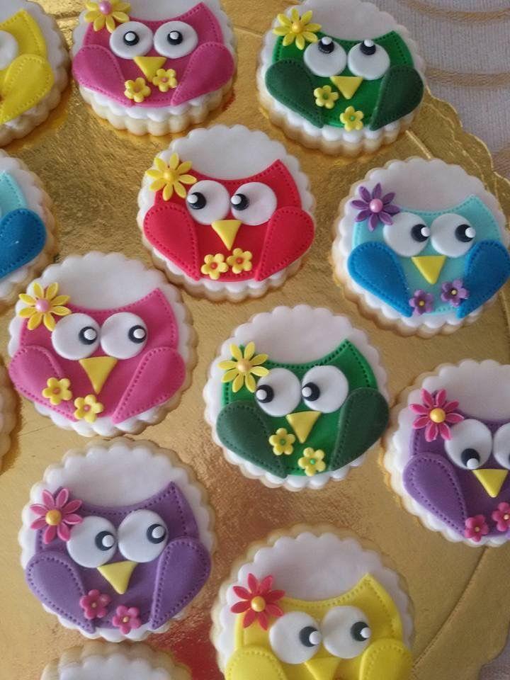 Owl vanilla fondant cookies
