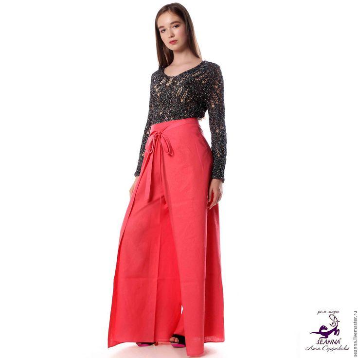 """Купить Брюки-юбка безразмерные (регулируемый размер) льняные """"Летящая Птица"""" - брюки, брюки льняные"""