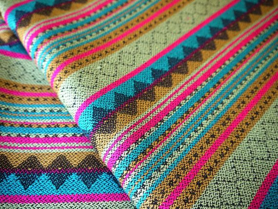 #Aztec Fabric #Peruvian #Fabric Woven Brava Green Pink by the Yard