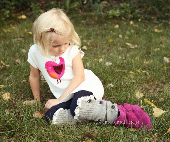 The Mini Molly - GIRLS legwarmers light grey Soft Slouchy Button Down leg warmers w/ Ivory Knit Lace Trim - girls leg warmers baby legs