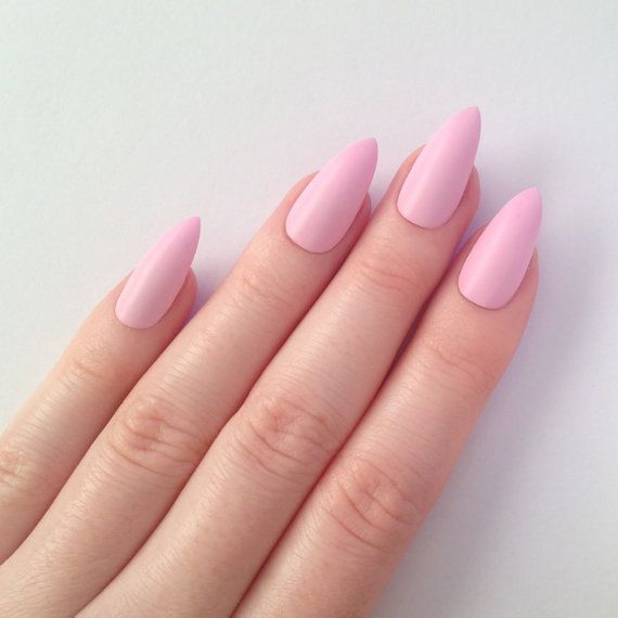 Matte Pastel Pink Stiletto nails, Nail designs, Nail art, Nails, Stiletto nails, Acrylic nails, Pointy nails, Fake nails