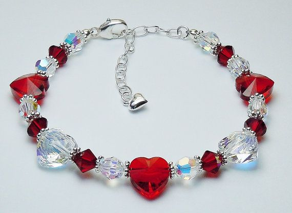 Perfect for Mother's Day for Mom, Grandma or wife - Swarovski Crystal Heart Bracelet  by BestBuyDesigns