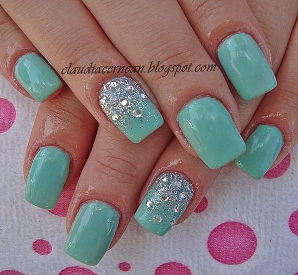 Mint Cream Nails- Love the idea and design wish the color were a little more blue !!