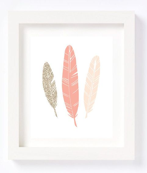 Gold Glitter Peach Feathers Tribal Bohemian Wall Art Print Nursery Children's room decor pink baby girl modern chic whimsical by CheekyAlbi, $12.00