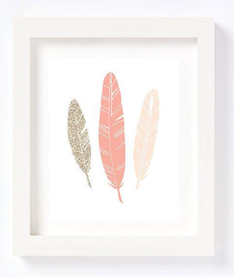Feathers Tribal Bohemian Wall Art Print Nursery Children's room decor ...