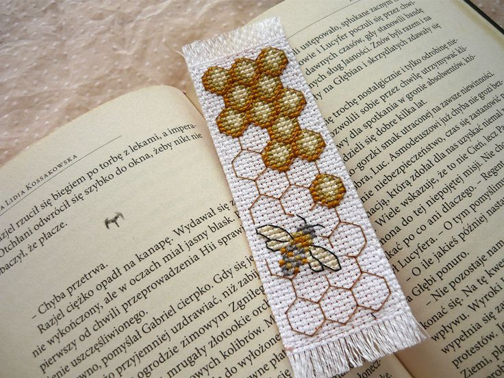 Cross stitch bookmark - bee, embroidered bookmark, gift for readers, book lover by MariAnnieArt on Etsy