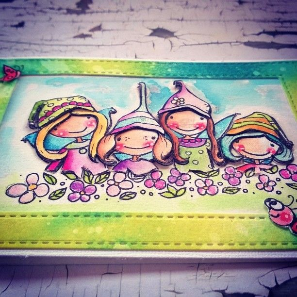 3d paperpiecing- stamp from Stampendous Pink your life coloured with Zig Art&Graphic twin