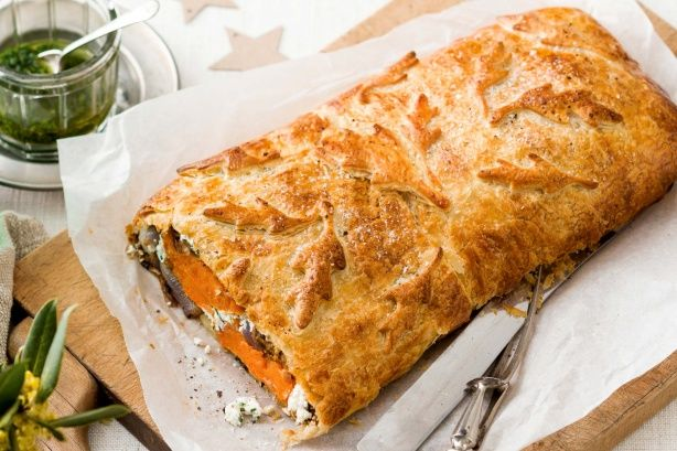 For impressive vegetarian entertaining, try this sweet potato and onion combination baked in buttery layers of puff pastry.