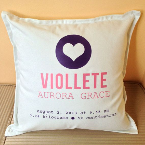 Cute love heart custom BABY GIRL birth announcement pillow for New Borns, the perfect gift for new parents and keepsake.. by louiseexclusivelyyou on Etsy