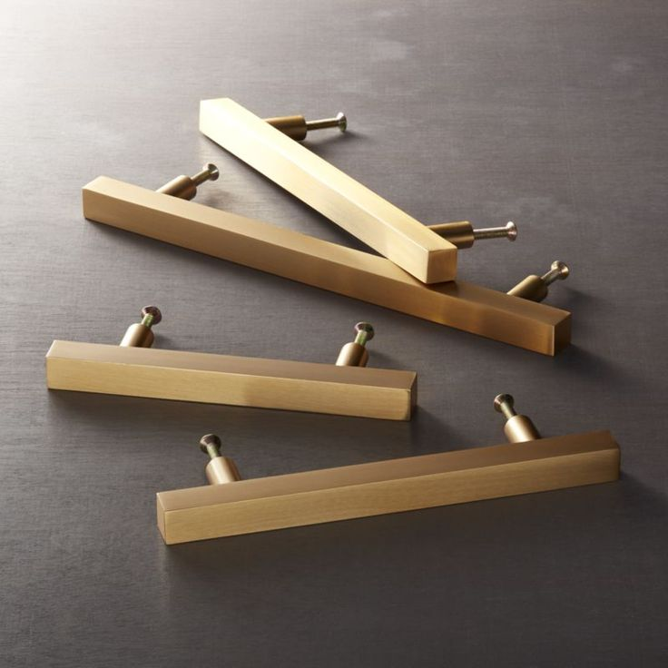 Shop Brushed Brass Square Handles.   Minimal yet sculptural, the humble square adds a sophisticated graphic element to doors and drawers.  Handmade of solid brushed brass, clean shape ups the design factor of existing cabinets.