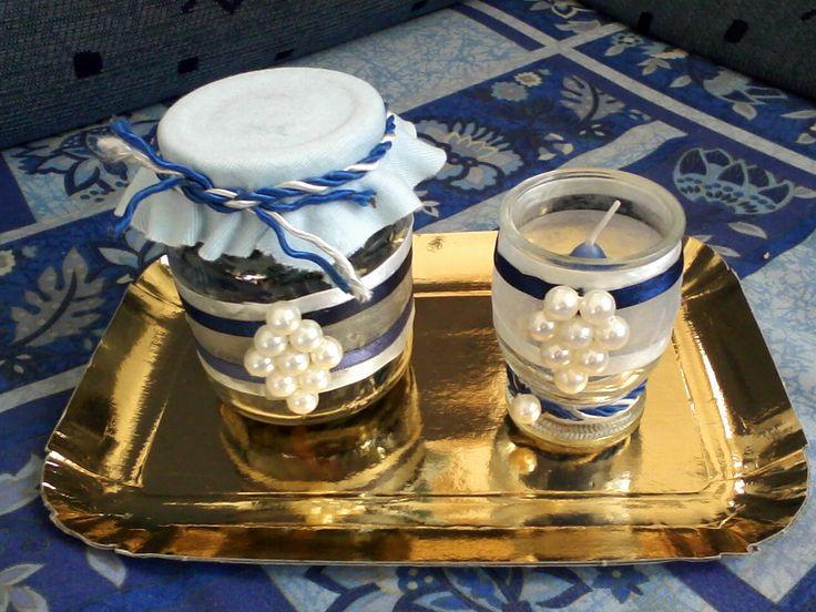 barattolo porta pot-pourri e porta candela decorati a mano con perline e tessuto