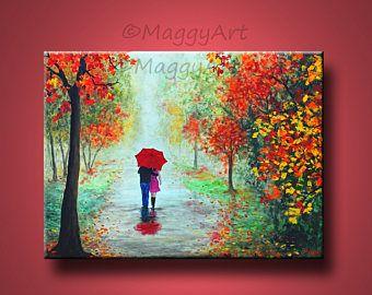 pintura abstracta original, lluvia de otoño, caminar bajo la lluvia, paraguas rojo, amor pareja, 24 x 18 pulgadas, en lienzo, regalo de boda de gran