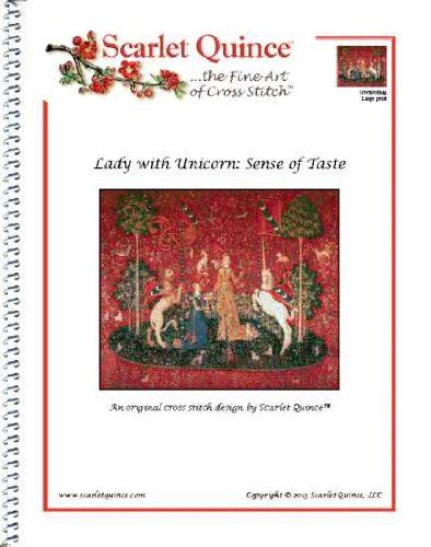 Scarlet Quince UNK008alg Lady with Unicorn: Sense of Taste Counted Cross Stitch Chart, Large Size Symbols -- Continue to the product at the image link.