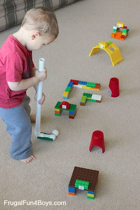 "Here's a fun way for preschoolers to expend some excess energy on a day stuck indoors – Duplo Lego Mini Golf! We used a ping pong ball for our golf ball – I didn't want a real golf ball flying through the house!  We used plastic cups for the ""holes,"" although Jonathan (age 3) was …"