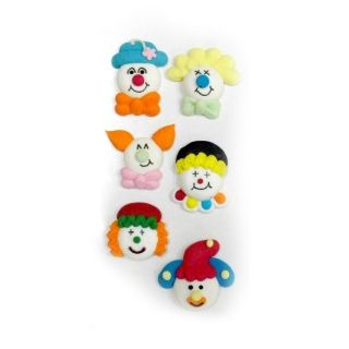 CLOWN FACES 2D PACK OF 6