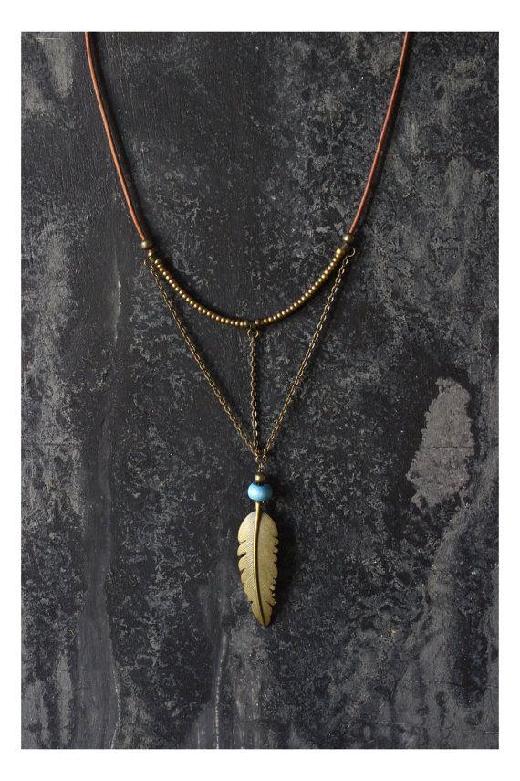 VENTA artículos Boho collar collar de plumas por AnankeJewelry