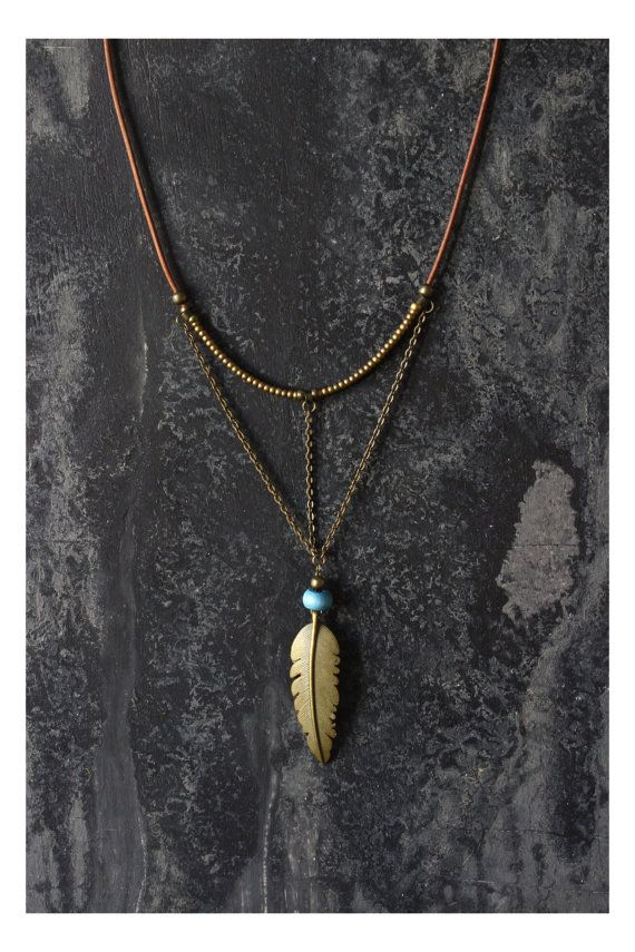 SALE ITEMS Boho necklace feather necklace hippie by AnankeJewelry