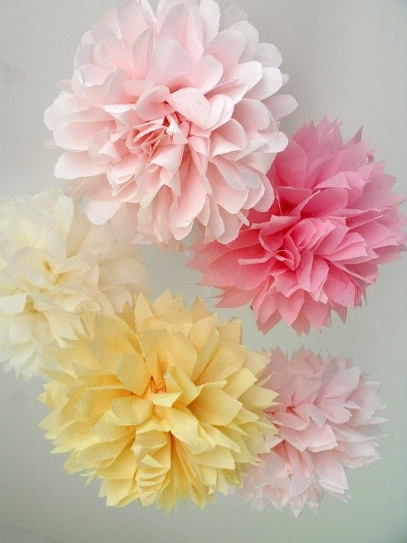 29 best images about diy tissue paper flowers on pinterest for Hanging pom poms from ceiling