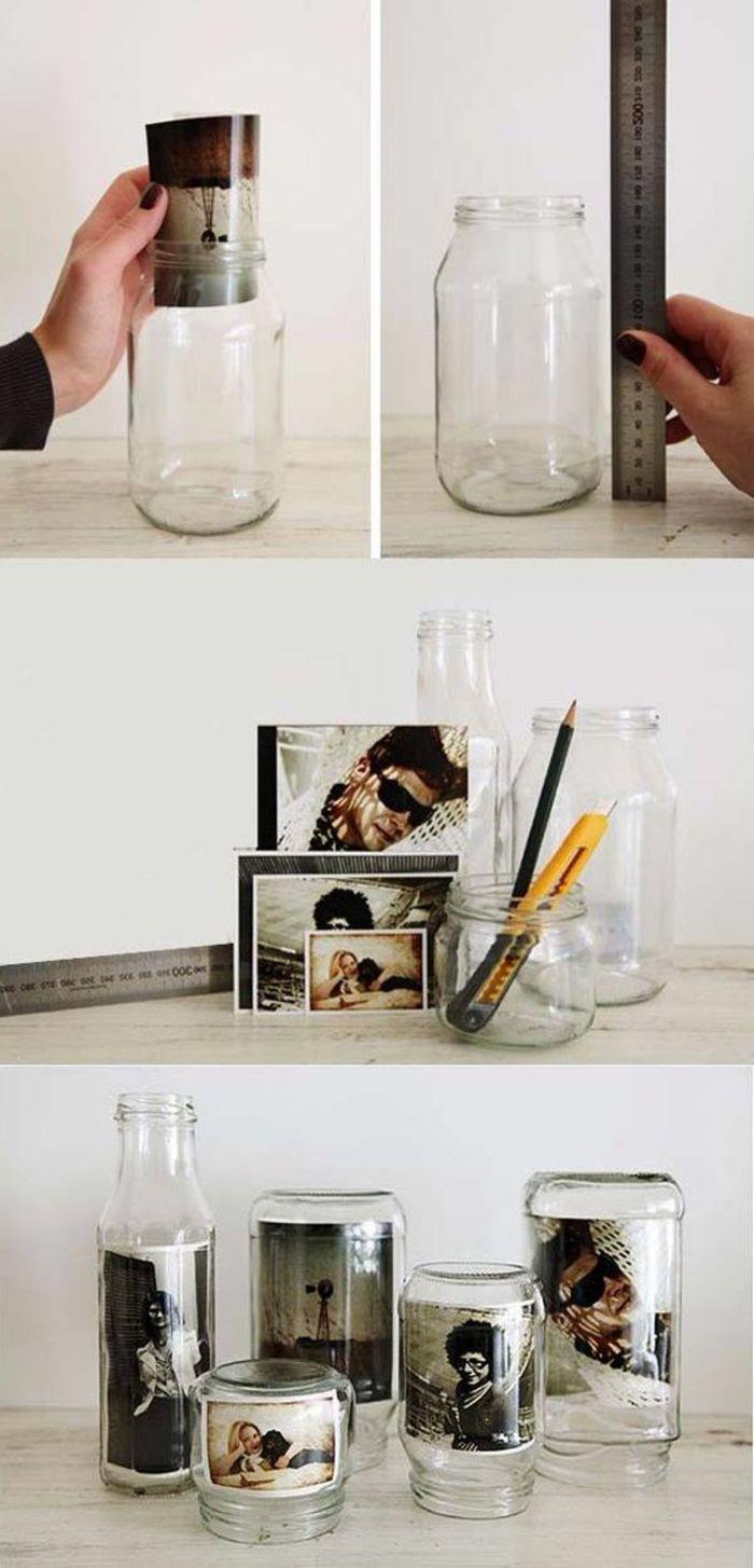 einmachgläser dekorieren, schwarz weiße fotos, cutter, lineal, bleistift