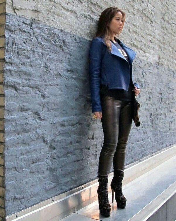 0e8eb0df Blue leather jacket black leather pants platform ankle boots | Hot ...