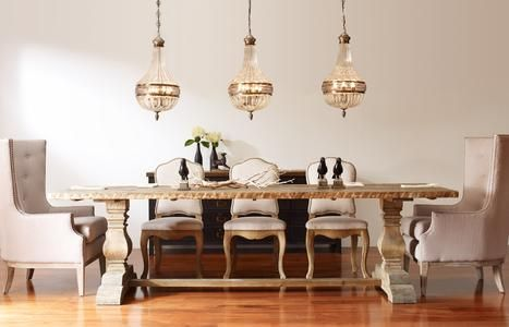 Chandeliers Over Trestle Dining Table Lighting