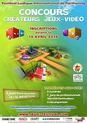 Concours des Créateurs de Jeux vidéo : Trophée FLIP 2016 - Ouvert à tous, professionnels, étudiants, amateurs […], cette nouvelle édition du concours des créateurs de jeux-vidéo du Festival Ludique International de Parthenay mettra à l'honneur 6 auteurs ...
