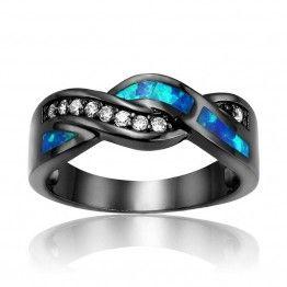 Vintage Black Gun Plated Wave Blue Opal Wedding Ring for Women