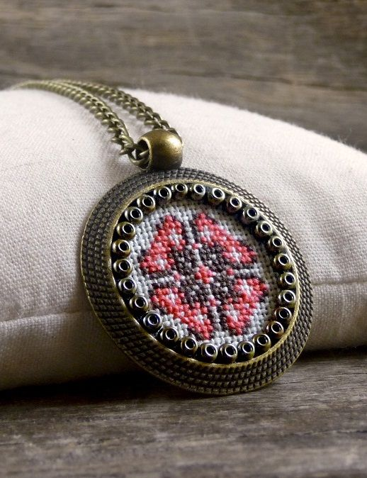Cross stitch necklace, Pink and brown cross stitch pendant, Embroidered jewelry, Cross stitch jewelry, Textile jewelry, Geometric necklace