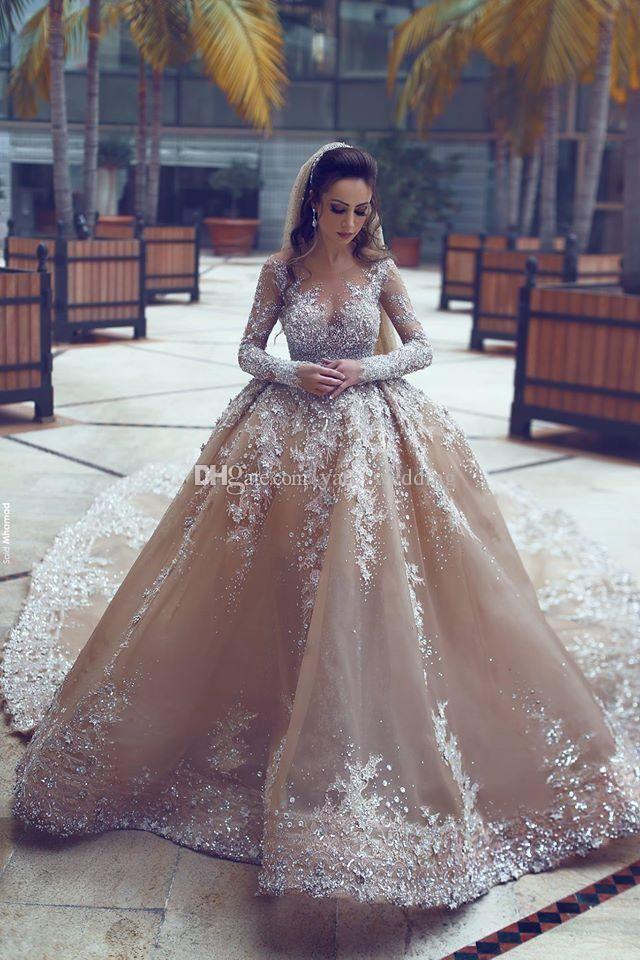a874b139ba0c Dubai Arabic Luxury Sparkly 2018 Wedding Dresses Sexy Bling Beaded Lace  Applique High Neck Illusion Long Sleeves Mermaid Chapel Bridal Gowns Corset  Wedding ...
