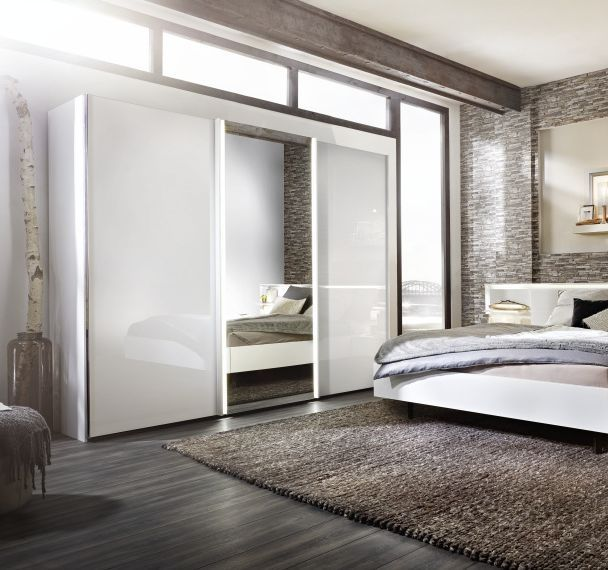 Unique Nolte Ipanema Glass and Mirror Sliding Wardrobe with LED Light Band