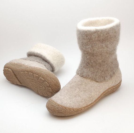 Felt boots natural beige brown felted wool boot by WoolenClogs, $198.00 Etsy
