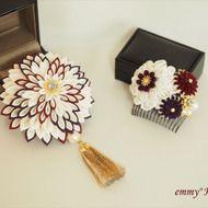 《受注制作》正絹ちりめん 椿の花寄かんざし「華」ピンク つまみ細工 美しく保管できるブーケケース無料プレゼント!