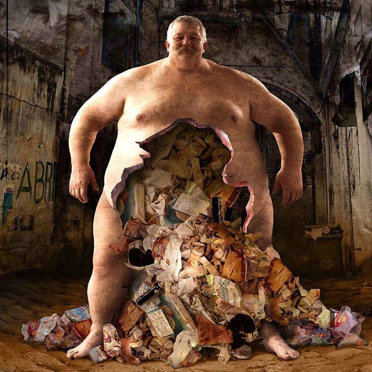 Menschlicher Körper oder eine Müllhalde?  Die Schattenseite unserer Gesellschaft: Kontroverse Illustrationen von Igor Morski
