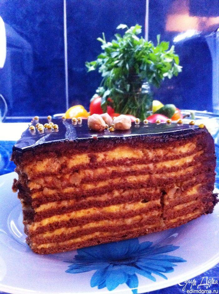 Торт медово-шоколадный с тыквенным кремом | Кулинарные рецепты от «Едим дома!»