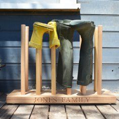 Personalised wooden welly rack