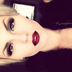 Classic wing eyeliner with dark red lips  #makeup #glitter #classy eyeshadow, lipstick, lips