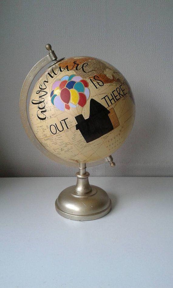Hand Painted Globe. Disney Gift. Disney's Up. Pixar. Up Quote. Travel Gift. Disney quote