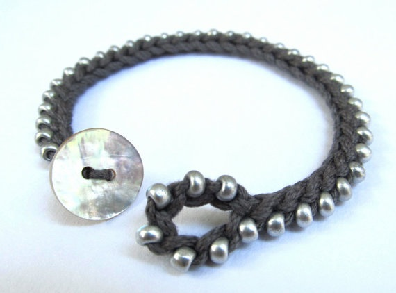 Closure Detail ~ Beaded crochet bracelet silver and grey crochet by CoffyCrochet