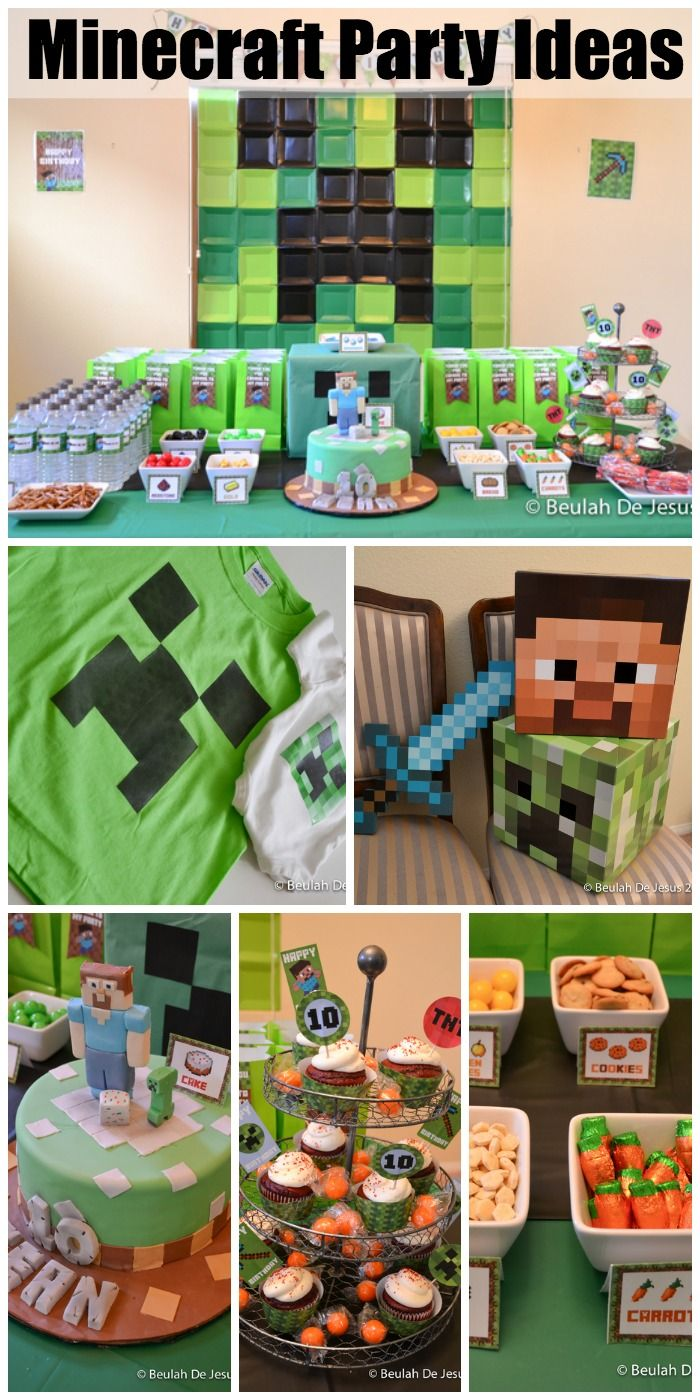 Such terrific Minecraft birthday party ideas including a Minecraft cake! See more party ideas at CatchMyParty.com. #minecraft #kidsparty