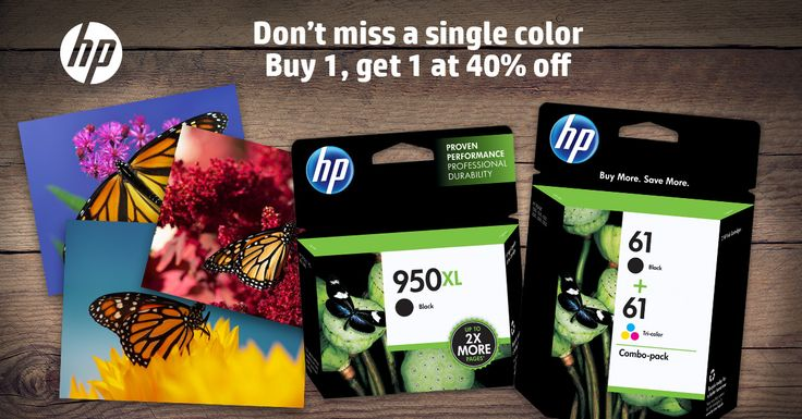 Right now you can Buy one Original HP Ink, get a 2nd cartridge of equal or lesser value for 40% off. #HPInk